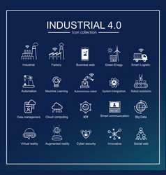 industry 40 and smart productions icon set vector image