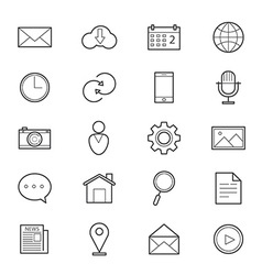 Internet Web and Mobile Icons Line vector