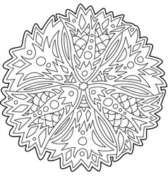 isolated floral art for coloring book page vector image