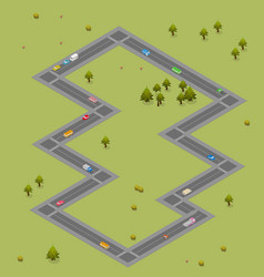 isometric road with cars and buses traffic vector image