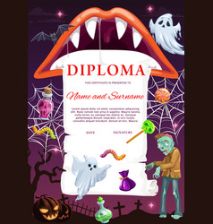 Kids diploma template with halloween vector