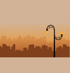 Landscape city with street lamp silhouette vector