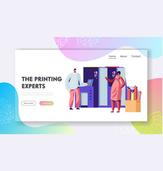 man and woman work in printing house vector image