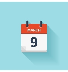 March 9 flat daily calendar icon Date and vector image