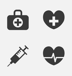 medicine icons set collection of injection heal vector image