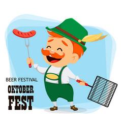 oktoberfest beer festival funny man vector image