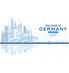Outline welcome to germany skyline with blue vector