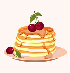 Pancakes with berries and honey icon vector