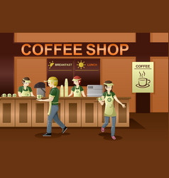 People working in a coffee shop vector