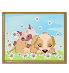 Picture of cute kitten sleeping on a puppy vector