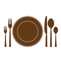plate knife and fork icon vector image