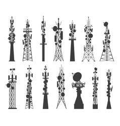 radio tower silhouette satellite communication vector image
