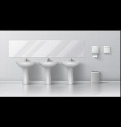 realistic public toilet modern 3d interior mockup vector image