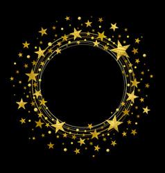 Round wreath gold stars vector