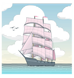 Sailboat with scarlet sails vector