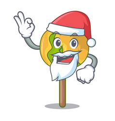 Santa candy apple mascot cartoon vector