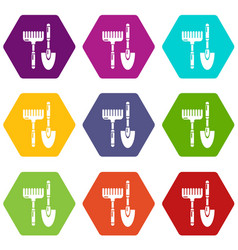 scoop hand rake icons set 9 vector image
