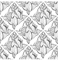 seamless texture of plant elements hand-drawn vector image