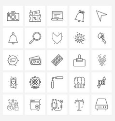 Set 25 line icon signs and symbols warning vector