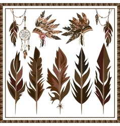 Set Dream Catcher feathers beads war bonnet vector