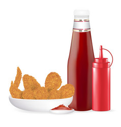 set fried chicken with sauce bottle vector image