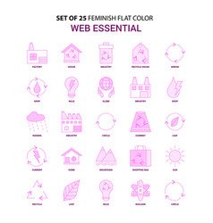 Set of 25 feminish web essential flat color pink vector