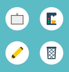 set of bureau icons flat style symbols with desk vector image