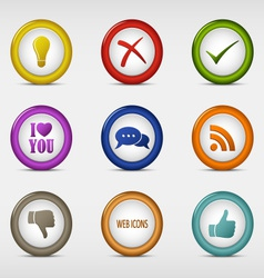 Set of colored round web icons template vector image