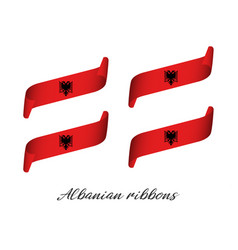 set of four modern colored albanian ribbons vector image