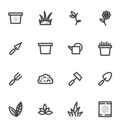 Set of icons of gardening garden breeding vector
