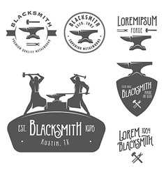 Set of vintage blacksmith design elements vector image