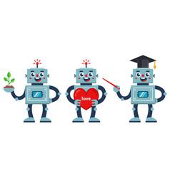 Set positive robots a robot teacher a nerd vector
