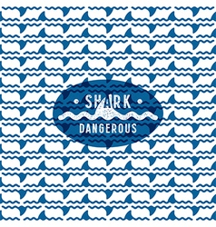 Shark fin among the waves seamless pattern vector