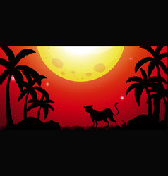 silhouette scene with cheetah in forest vector image vector image