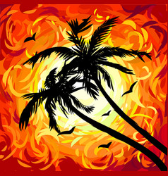 silhouettes palm trees on abstract red sunset vector image