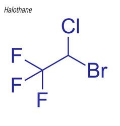 Skeletal formula halothane drug chemical vector