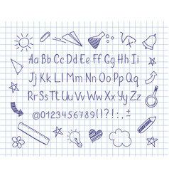 Sketched alphabet and doodles on copybook sheet vector