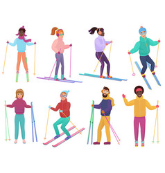 Skiers set men and women ski trendy flat vector