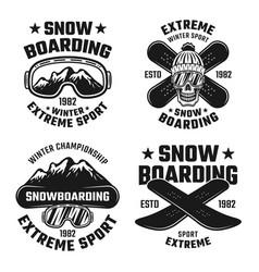 Snowboarding set four vintage emblems vector
