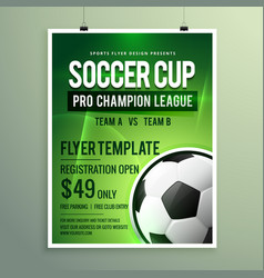 Soccer league sports event flyer design vector