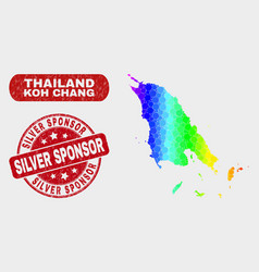 Spectrum mosaic koh chang map and scratched silver vector