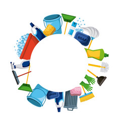 Spring cleaning supplies round frame tools of vector