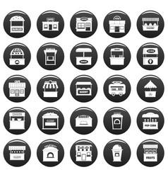 street food kiosk icons set vetor black vector image