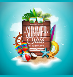 Summer sale design with exotic palm leaves vector