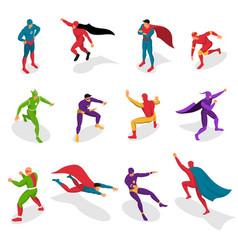 Super heroes isometric set vector