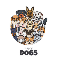 template postcard for new year from dogs different vector image