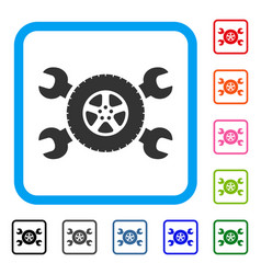 tire service wrenches framed icon vector image