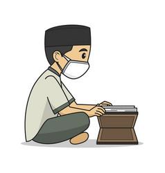 ustaz character read koran wearing muslim vector image