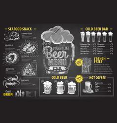 vintage chalk drawing beer menu design restaurant vector image vector image