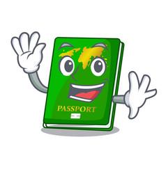 Waving green passport in the cartoon shape vector